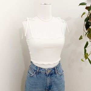 Zara white scallop edge shoulder tie crop top